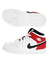 Jordan Air 1 Mid (GS)(白色/黑色-健身房红色,7 岁)