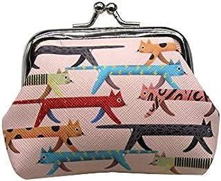 可爱的猫图案零钱包 - 迷你猫设计搭扣钱包钥匙包钱袋女孩儿童钱包女士钱包带扣派对礼物