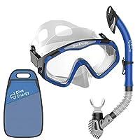 DIVE ENERGY 成人*管套装 - 运动设计 - 无泄漏防雾和钢化玻璃透明面罩 - 无泄漏 易*管 + 手提袋 - 适合女士或男士