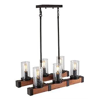 Anmytek 厨房岛吊灯带种子玻璃灯罩工业质朴吊灯复古吊灯或爱迪生复古悬挂灯具 棕色 C0002 需配变压器