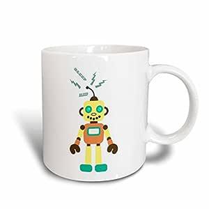 3dRose mug_151868_2 Citrus Robot with Sparks Ceramic Mug, 15-Ounce
