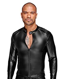Noir 手工制作 Wetlook 夹克 PVC 装饰褶皱 S 1 毫升 黑色