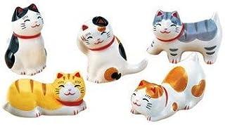 夏季风物诗 横丁猫筷子架套装 [陶器] [高2.5cm~4cm] 纳凉 室内装饰 可爱 凉爽 夏天