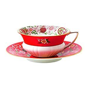 Wedgwood韦奇伍德 40024021 Wonderlust 茶杯茶托2件套,东方绯红宝石