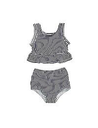 YOUNGER TREE 女婴夏季泳装无袖条纹泳衣 两件套