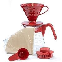 HARIO 日本原裝進口 家用咖啡壺套裝 手沖滴濾式玻璃咖啡壺VCSD-02R 配濾紙10枚 量勺1個 紅色 700ml(亞馬遜自營商品, 由供應商配送)