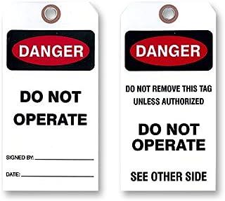 "Danger Do Not Operate 标签,白色乙烯基双面,50 个标签/3 1/8"" X 6 1⁄4""。 25 Tags"