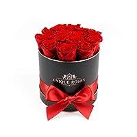 独特的玫瑰 - 持续一年真正的永生玫瑰 - 盒子中的玫瑰 红玫瑰 Round, Black, Medium Box