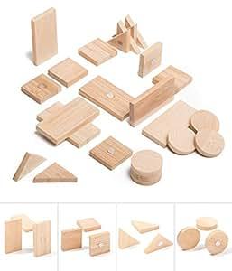 冰箱和白板磁贴由竹制成 - 四种不同的形状 - 圆形、方形、矩形和三角形 - 美丽、可爱和独特的木制冰箱和办公室磁铁 Mixed, Bamboo