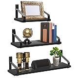 Sorbus 浮动搁架壁挂 - 乡村风格木制家居装饰墙面架,适用于卧室客厅浴室厨房 办公室 3 件套 Wood Bracket Shelf - Black WD-TILCR-BLKA