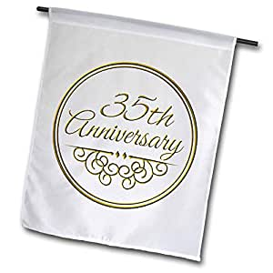 FL _ 154477inspirationzstore occasions–35TH anniversary Gift–金色文本为庆祝结婚周年纪念日–35YEARS married Together–旗帜 12 x 18 inch Garden Flag