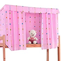 Sun Kea 3 件套双层床帘学生宿舍单人床遮阳篷遮光布防尘保护网装饰 图案 1 78.8*45.3in cl-03784-01SK