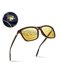 Surenue 夜间驾驶眼镜 防眩光 方形 偏光 黄色 薄荷色 聚碳酸酯镜片 *太阳镜 男式 女式