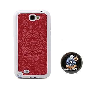 深红色 万圣节小魔鬼浮雕设计风格 塑料+TPU手机壳 手机套 适用于 Samsung三星 Galaxy Note2 Note II N7100 赠送杰克圣诞夜惊魂胸章