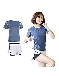 夷榀 运动套装女夏季2018新款时尚休闲晨跑步短裤短袖健身房速干两件套