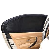 REACHS 汽车遮阳罩汽车侧窗适合婴儿女婴儿童宠物透气网眼遮阳罩,紫外线防护,适合大多数 SUV 和汽车 - 2 件 黑色 REAR-SIDE