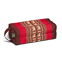 Kapok Dreams Block 垫子带手柄/绑带,瑜伽和冥想道具,* 天然 Kapok 填充物(天然植物纤维),红色大象设计。