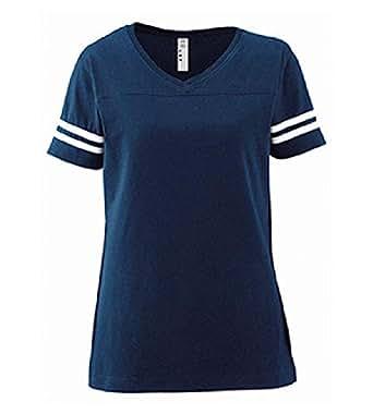 LAT 女式精细针织运动衫/短袖足球 T 恤  Vintage Navy/Blended White Small