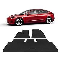 TOPlight Tesla Model 3 全天候防水地垫套装 3 件套 - 重型 - 黑色橡胶环保材料汽车地毯 适用于特斯拉型号 3
