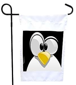 Rikki Knight 企鹅卡通脸屋或花园旗帜 27.94 x 27.94 cm 图片,30.48 x 45.72 cm