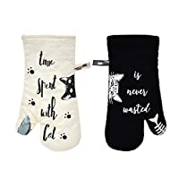 GREVY 烤箱手套耐热烹饪手套 * 棉衬里 12 英寸(象牙色和黑猫,隔热垫厨房手套,2 件套)