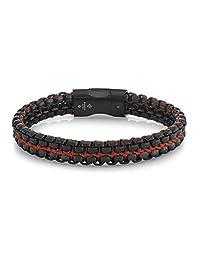 SPARTAN 不锈钢男士手链 黑色和红色 8.5 Inch