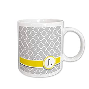 mug_154578 InspirationzStore Monograms - Your personal name initial letter L - monogrammed grey quatrefoil pattern - personalized yellow gray - Mugs 15-oz