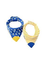 Bazzle Baby Banda 围嘴安抚巾,2 可机洗和吸水,Bandana Drool 围兜带可调节按扣和双层面料,可选尺寸0-24个月 Blue/White/Yellow 0-3 Years