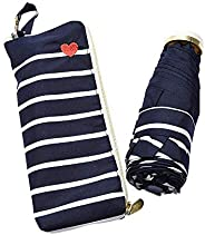 World Party Wpc. 折叠雨伞 女士 拉链袋 条纹心形刺绣 藏蓝色 50cm