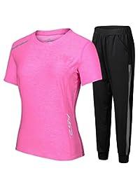 Ziitop[上衣+裤子]两件套 瑜伽服运动套装女夏季健身房专业速干长袖健身服晨跑步衣长裤