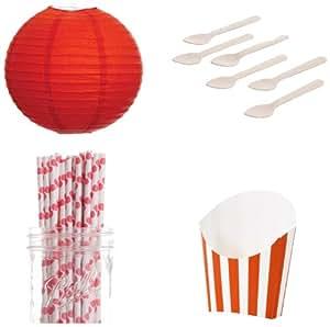 Dress My Cupcake 甜点桌面派对套装,包括法国煎炸盒容器、灯笼和橙色波点吸管