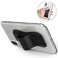 Sinjimoru 手机手柄支架,*方便的手机皮带适用于 iPhone 和 Android。 手机支架,皮革手机支架。 Sinji Grip 黑色