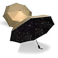 HAGGIS 新款韩版创意星星伞三折遮阳伞黑胶防晒伞折叠雨伞 (香槟色)