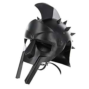 AnNafi Maximus 罗马男士角斗士头盔黑色皮革衬里修身   成人中世纪服装   LARP SCA 派对服装   万圣节服装
