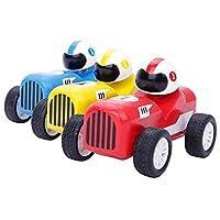 木马智慧 木制回力跑车赛车三合一组合儿童玩具小汽车 10712