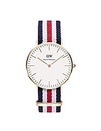 Daniel Wellington 丹尼尔·惠灵顿 Classic系列 时尚女士尼龙表带手表 0502DW(瑞典品牌)