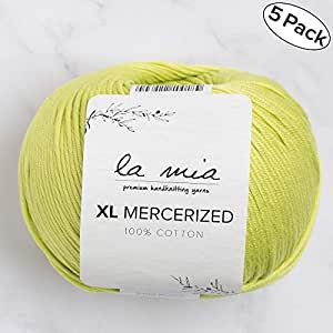 5 Ball%100 丝光 La Mia XL 丝光处理棉共 8.8 盎司 每件 1.76 盎司 (50g) / 103 码 (95m) 超软,中度世界,阿富汗,纱线, Green -150 5 件装 Mercerized