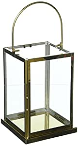 "Deco 79 不锈钢和玻璃金色灯笼,金色/透明,27.94 cm x 17.78 cm Golden/Clear 14"" x 5"" 70074"
