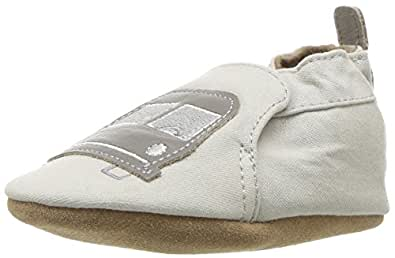 Robeez Boys' Soft Soles Big Bus Taupe 0-6 Months M US Infant