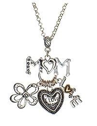 Jewelry Nexus 优雅妈妈吊坠项链带有单词 I Love Mom 和花朵