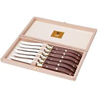 Claude Dozorme 2.60.001.51 牛排刀,山毛榉木盒,6件,Laguiole 刀