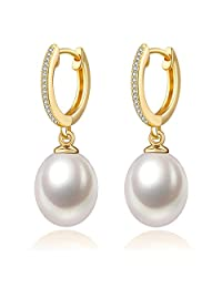 PearlAge 南珠世家 8.0-9.0mm水滴形淡水珍珠镀黄金925银镶锆石耳环 精选无瑕疵 高光泽 水滴形珍珠