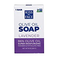 Kiss My Face Pure Olive Oil and Lavender Soap, Moisturizing Bar Soap, 8 Ounce Bars, (Pack of 8)