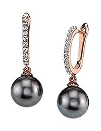 THE PEARL SOURCE 8-9mm 纯正黑塔希提南海养殖珍珠 Zara 女士耳环