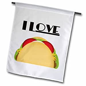 3dRose fl_152088_2 I Love Tacos 墨西哥食品艺术花园旗,45.72 x 68.58cm