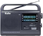 Kaito KA390 便携式 AM/FM 短波 NOAA 天气收音机带 LED 手电筒,黑色