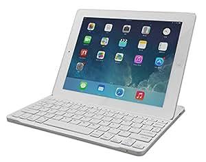 B.O.W 航世 超薄苹果iPad 4/3/2蓝牙键盘 (白色 iPad 2/3/4专属键盘 铝合金底壳 插槽设计 带支架)
