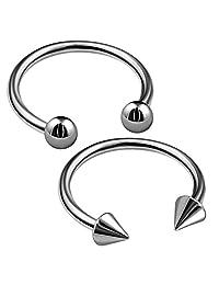 bodyjewellery 2 件 16g 马蹄形耳环钛 G23 蛇咬合鼻鼻环 唇环 耳骨 螺旋戒指 B2CCP 挑选尺寸 1/2 英寸(12 毫米)