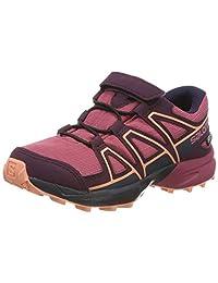 Salomon Unisex Kid's SPEEDCROSS CSWP K Trail Running Shoes, Red Malaga/Potent Purple/Desert Flower), 9 (27 EU)