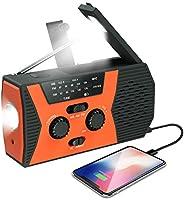 (2020年*新)紧急太阳能手摇收音机,NOAA天气收音机,自供电便携式收音机,AM,FM,LED手电筒,阅读灯,2000mAh移动电源,SOS报警器(橙色)